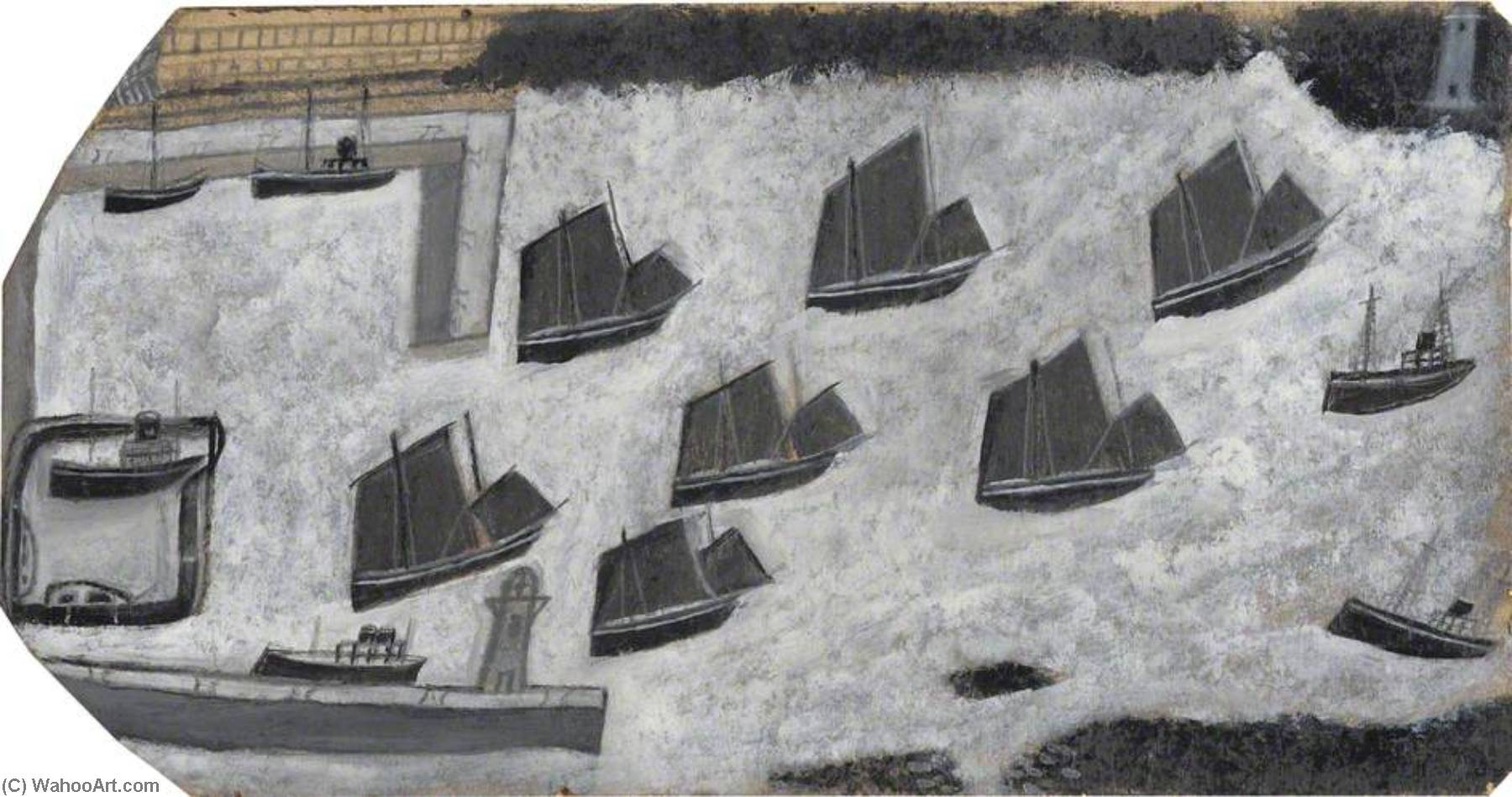 Sailing Ships and Two Steamers, Newlyn Harbour by Alfred Wallis (1855-1942, United Kingdom) | WahooArt.com