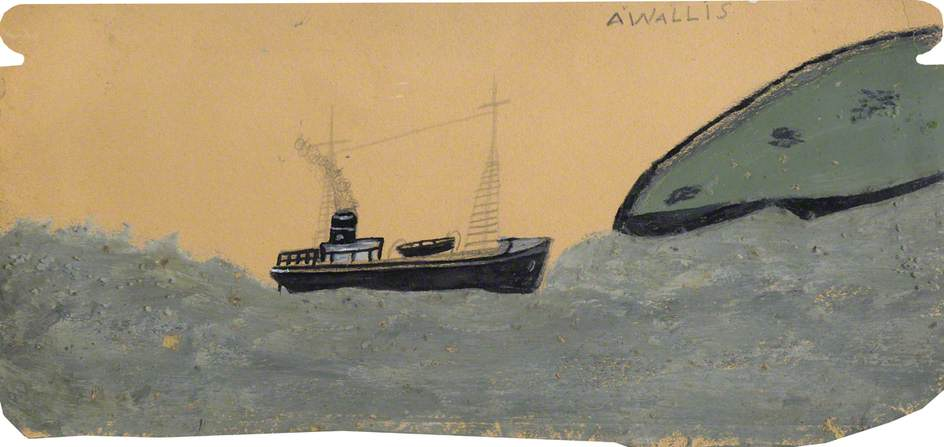 Motor Vessel near Land, Oil by Alfred Wallis (1855-1942, United Kingdom)