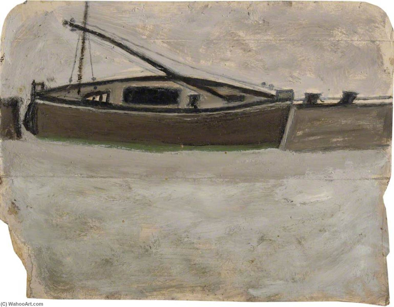 Fishing Boat with Mast Steeped by Alfred Wallis (1855-1942, United Kingdom) | Oil Painting | WahooArt.com