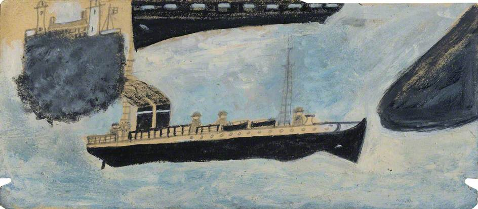 Motor Vessel with Four Men, Graphite by Alfred Wallis (1855-1942, United Kingdom)