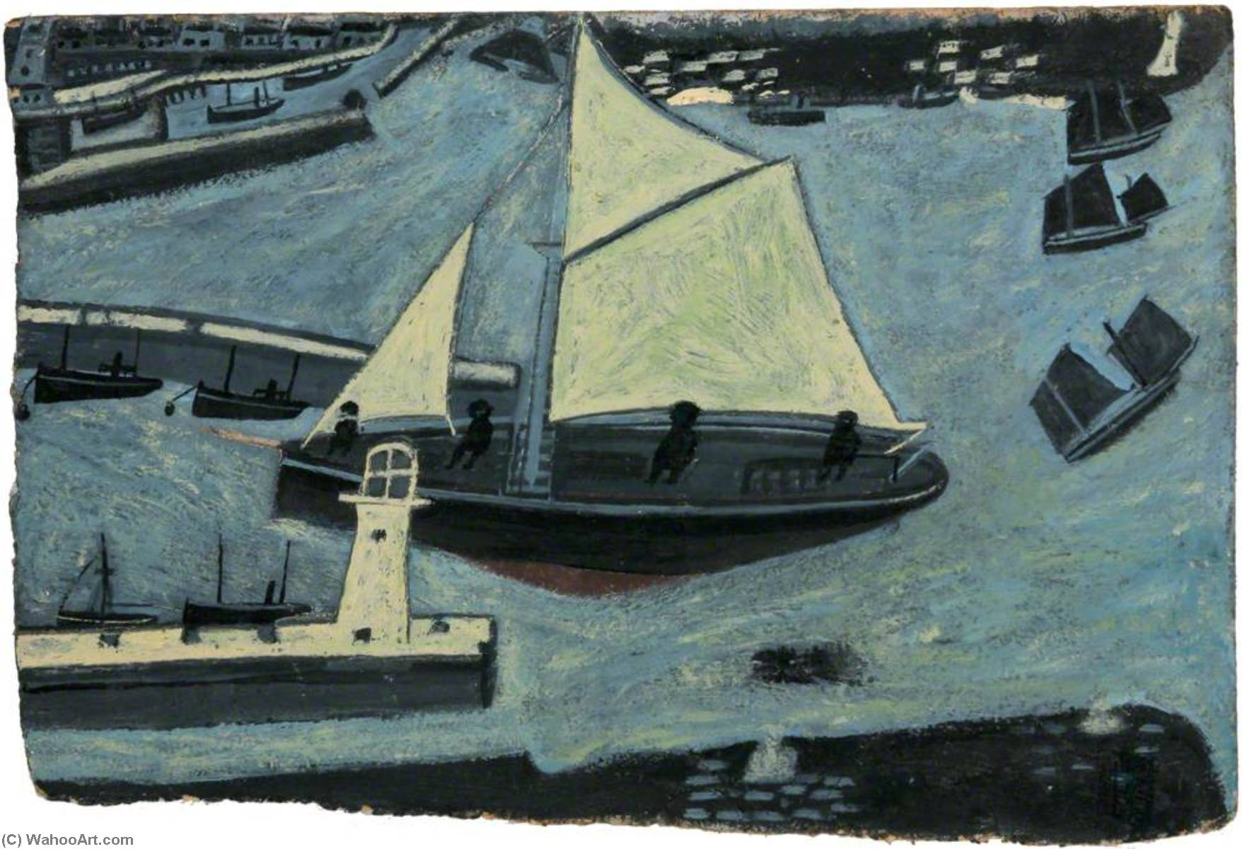 Penzance Harbour Entrance by Alfred Wallis (1855-1942, United Kingdom) | Museum Quality Reproductions | WahooArt.com
