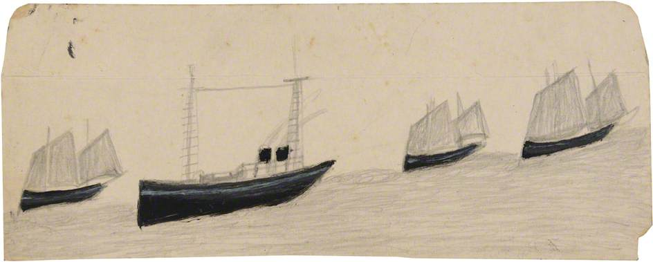 Two Funnel Steamboat amongst Three Sailing Boats by Alfred Wallis (1855-1942, United Kingdom) | Oil Painting | WahooArt.com