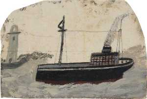 Alfred Wallis - Small Black Steamer with Lighthouse