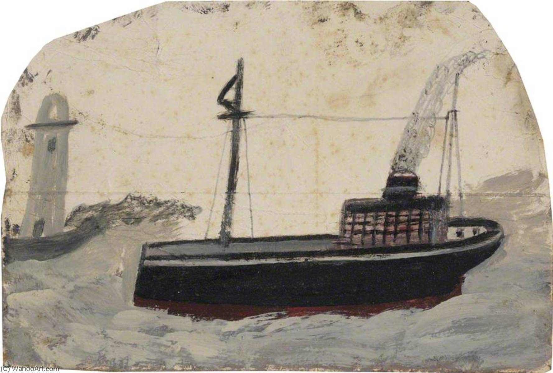 Small Black Steamer with Lighthouse by Alfred Wallis (1855-1942, United Kingdom) | Museum Quality Reproductions | WahooArt.com