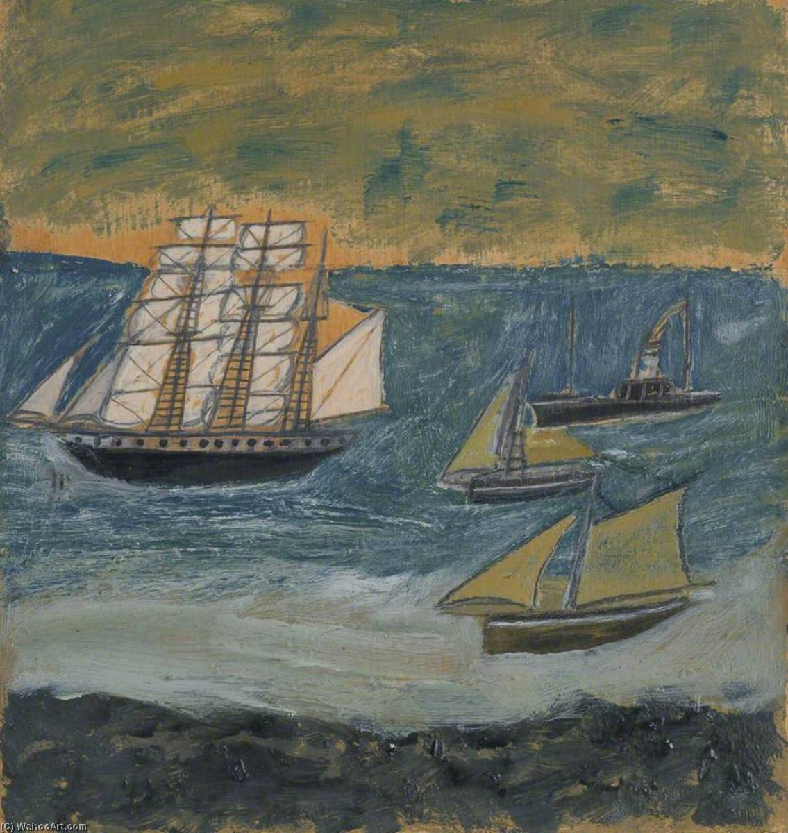Three Masted Barque with Three Small Ships by Alfred Wallis (1855-1942, United Kingdom) | Art Reproduction | WahooArt.com