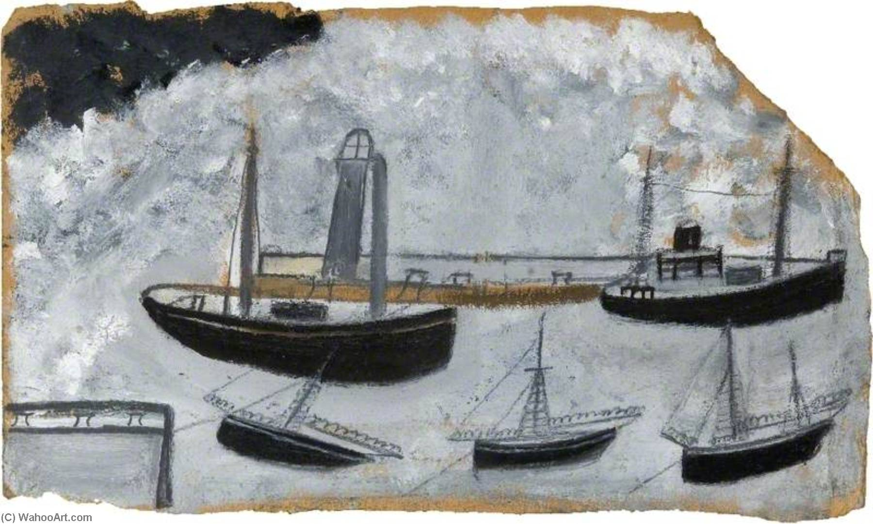 Ships in Harbour by Alfred Wallis (1855-1942, United Kingdom) | Museum Quality Reproductions | WahooArt.com