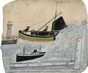 Alfred Wallis - Two Fishermen in Their Boat with One Mast Steeped
