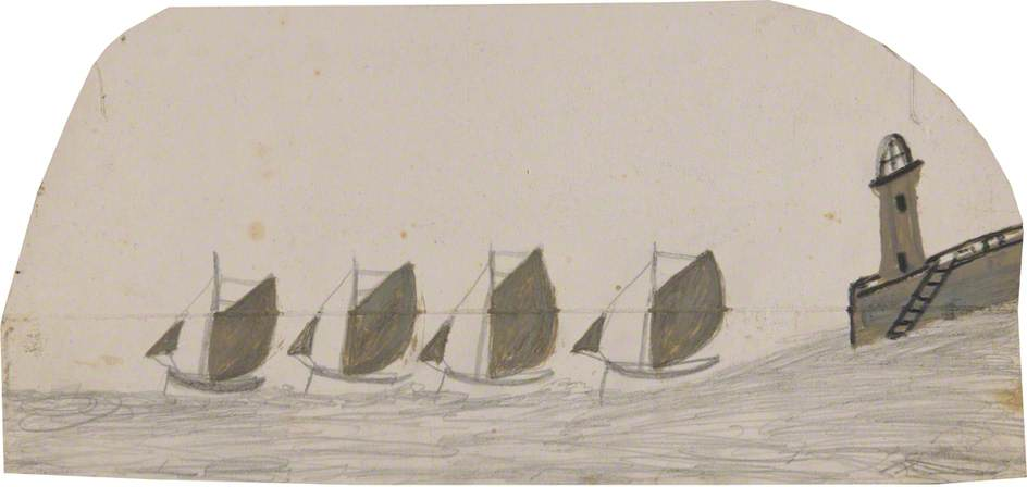 Four Sailing Boats Leaving Pier with Lighthouse by Alfred Wallis (1855-1942, United Kingdom) | WahooArt.com