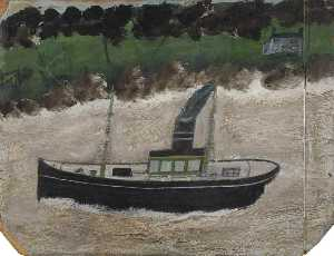 Alfred Wallis - Coaster by a Shore with a House
