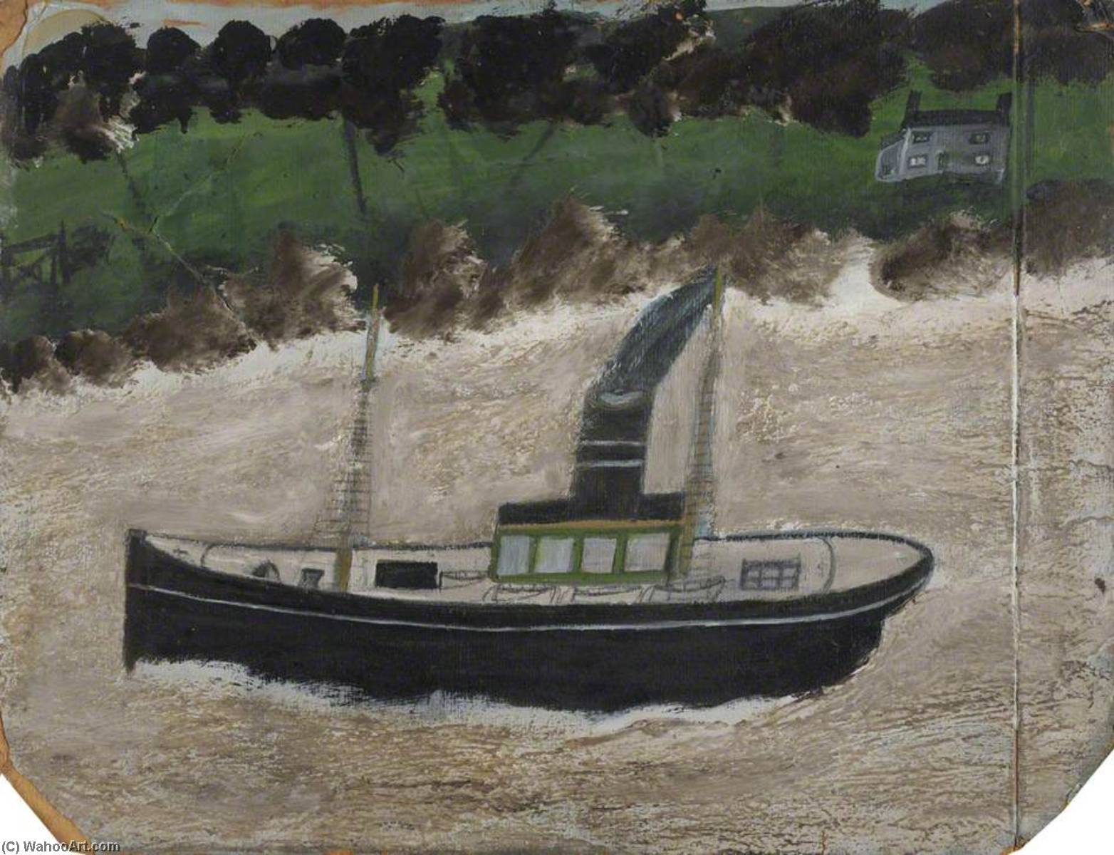 Coaster by a Shore with a House by Alfred Wallis (1855-1942, United Kingdom) | Oil Painting | WahooArt.com