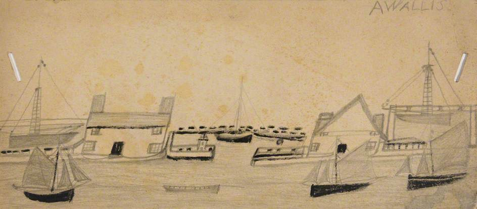 Houses Either Side of Port Entrance and Seven Boats by Alfred Wallis (1855-1942, United Kingdom) | Museum Quality Reproductions | WahooArt.com