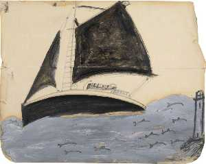 Alfred Wallis - Sailing Ship and Porpoises