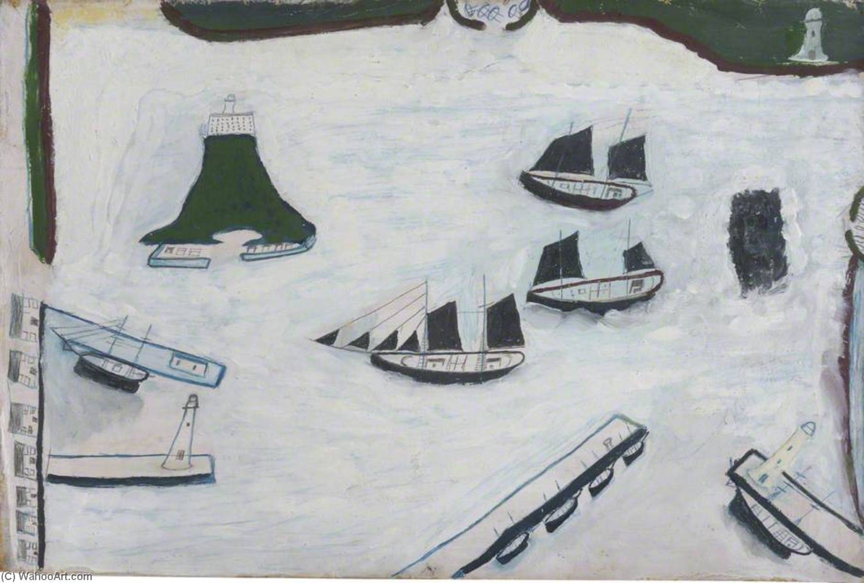 Mount's Bay with Four Lighthouses, Crayon by Alfred Wallis (1855-1942, United Kingdom)