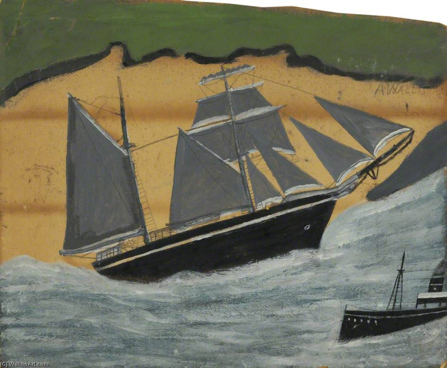 Sailing Ship against a Sandy Beach by Alfred Wallis (1855-1942, United Kingdom) | WahooArt.com