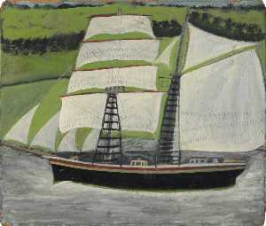 Alfred Wallis - Brigantine Sailing Past Green Fields
