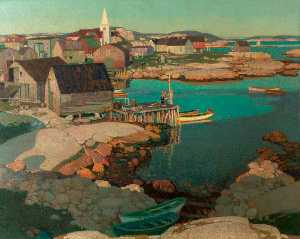 Stanley Royle - Evening Light, Fishing Village of Prospect, Nova Scotia, Canada