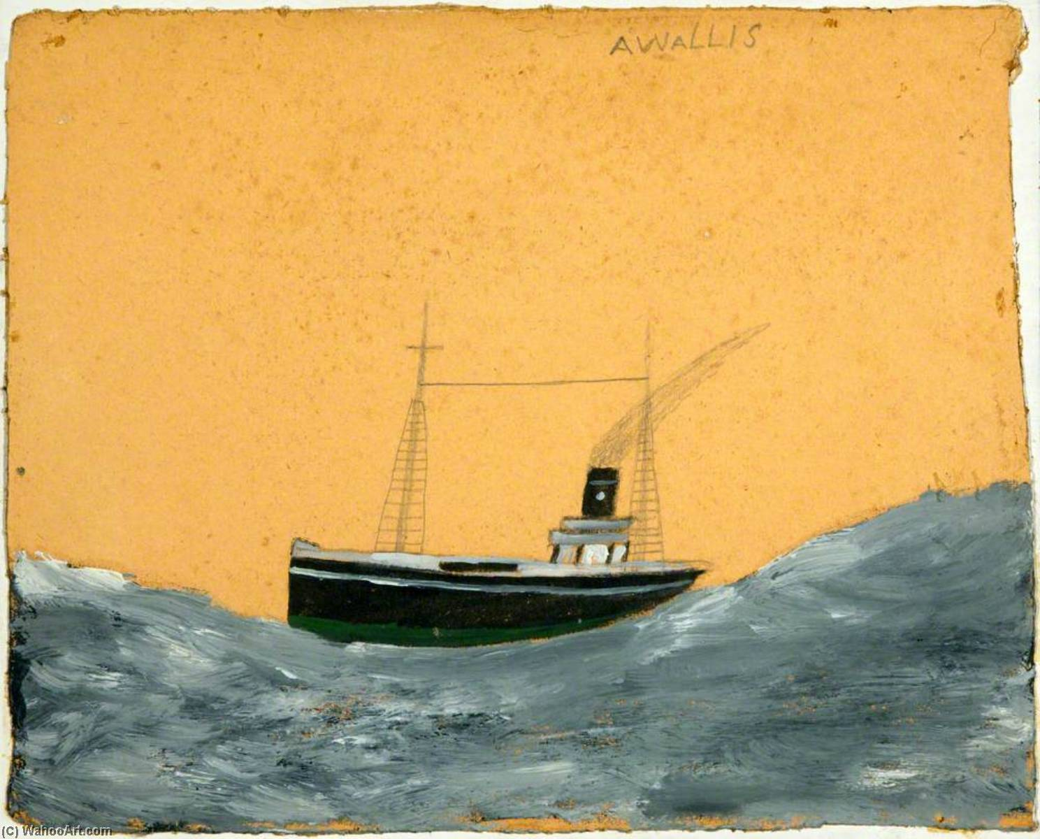 Ship Amid Tall Waves by Alfred Wallis (1855-1942, United Kingdom) | WahooArt.com