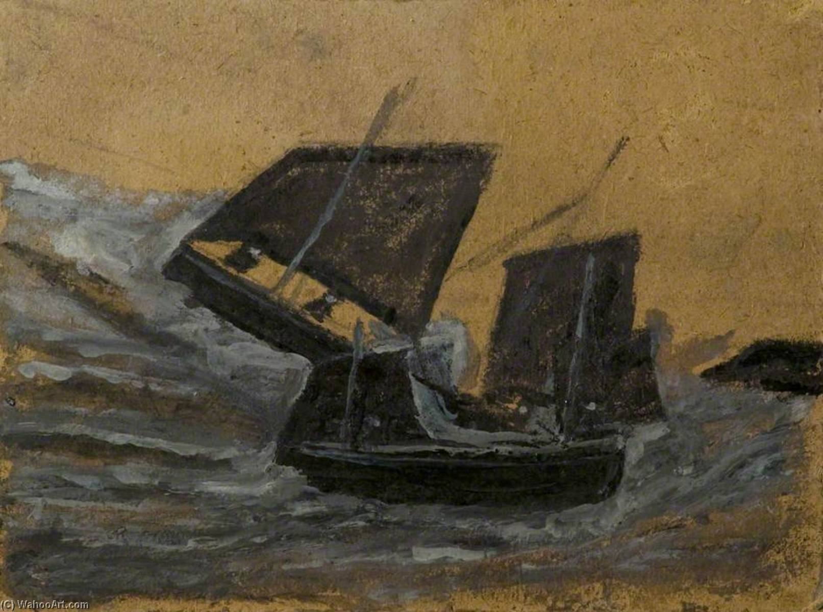 Two Black Boats Sailing up Dark Grey Waves, Oil by Alfred Wallis (1855-1942, United Kingdom)