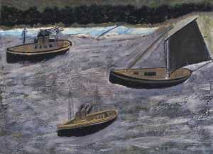 Alfred Wallis - Three Boats off the Shore