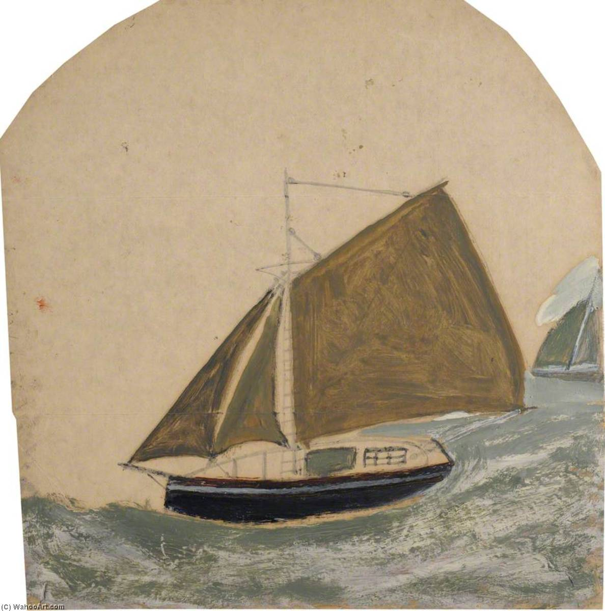 Two Ships with Brown Green Sails in Rising Sea, Graphite by Alfred Wallis (1855-1942, United Kingdom)