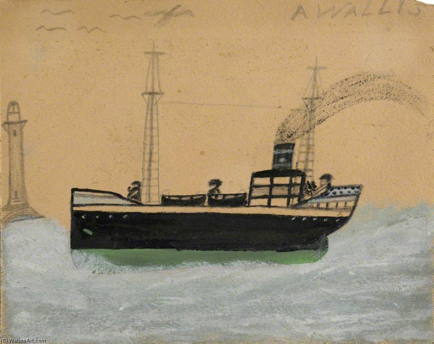 Green and Black Steamer, Lighthouse and Seagulls by Alfred Wallis (1855-1942, United Kingdom) | WahooArt.com