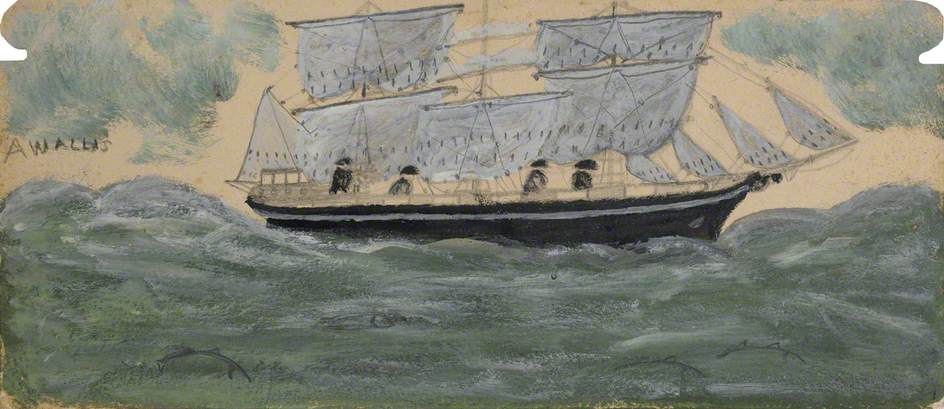Three Master with Four Sailors and Four Dolphins in Green Sea by Alfred Wallis (1855-1942, United Kingdom) | WahooArt.com