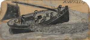 Alfred Wallis - Boat with Fishermen Letting Out Nets, PZ11, the 'Flying Scud'