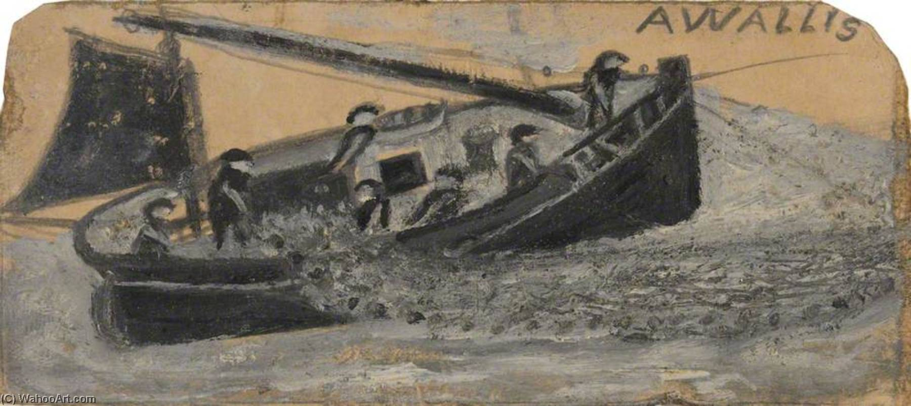 Boat with Fishermen Letting Out Nets, PZ11, the `Flying Scud` by Alfred Wallis (1855-1942, United Kingdom) | Art Reproduction | WahooArt.com