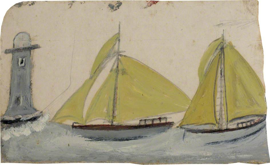 Two Boats with Yellow Sails and Lighthouse, Graphite by Alfred Wallis (1855-1942, United Kingdom)