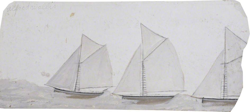 Three Sailing Boats in a Line (recto), Paper by Alfred Wallis (1855-1942, United Kingdom)