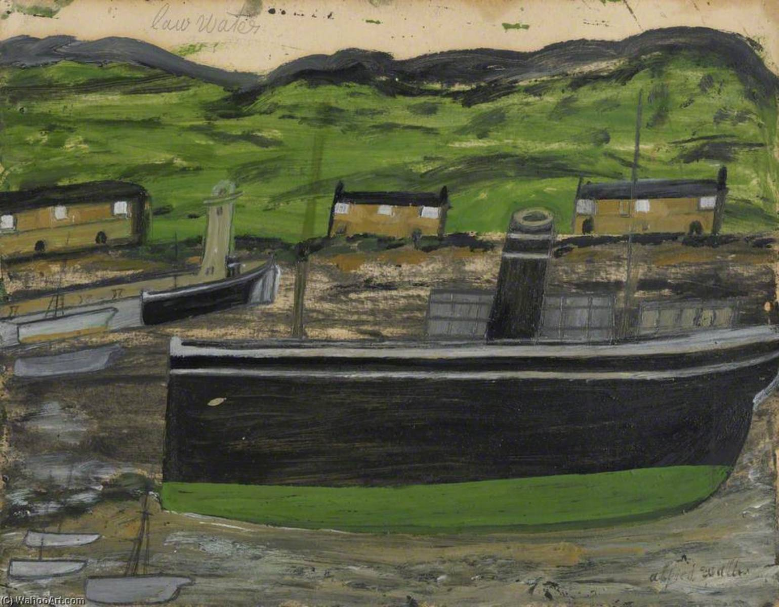 Low Water, Oil by Alfred Wallis (1855-1942, United Kingdom)