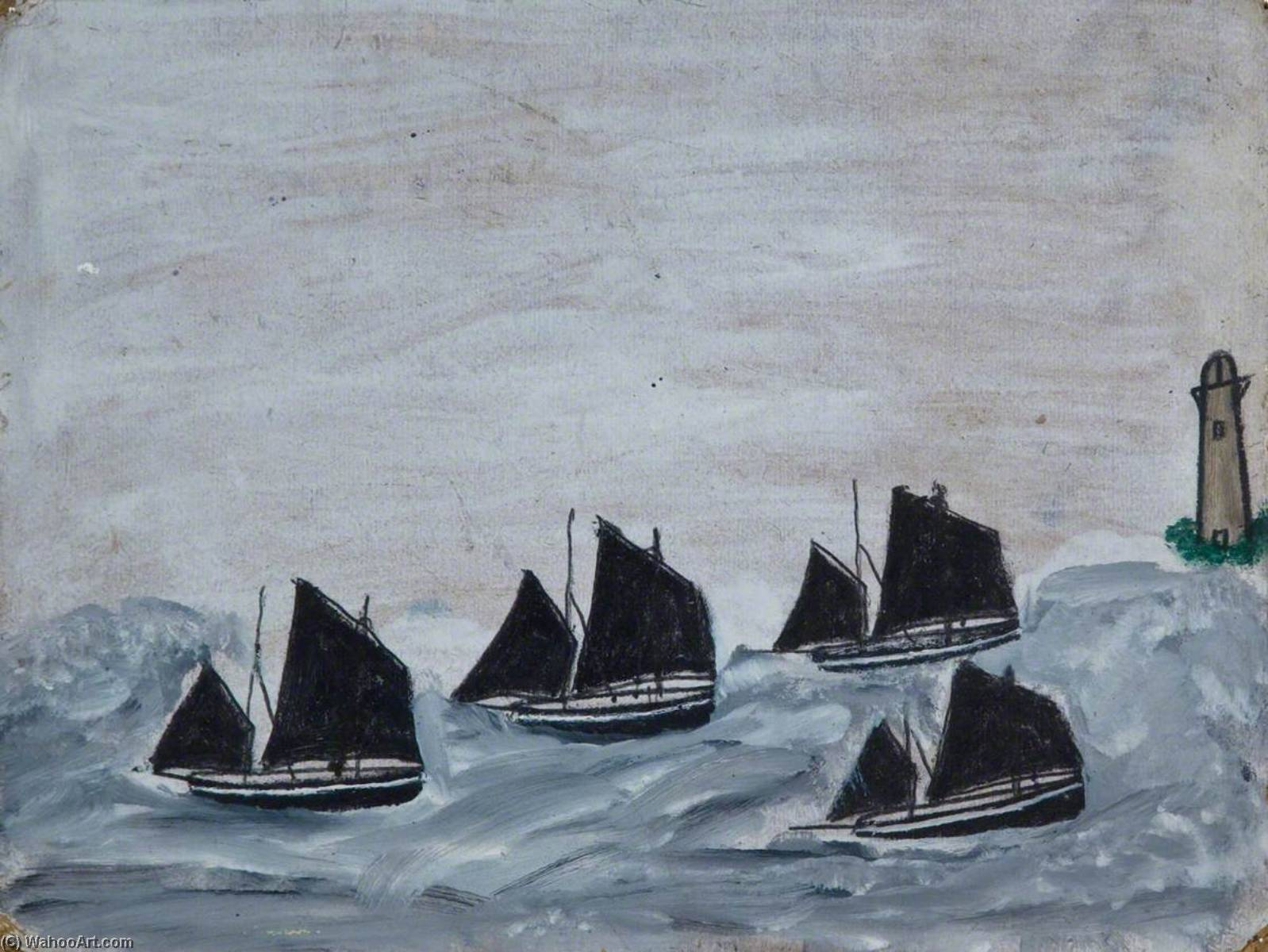 Four Boats by a Lighthouse, Pen by Alfred Wallis (1855-1942, United Kingdom)