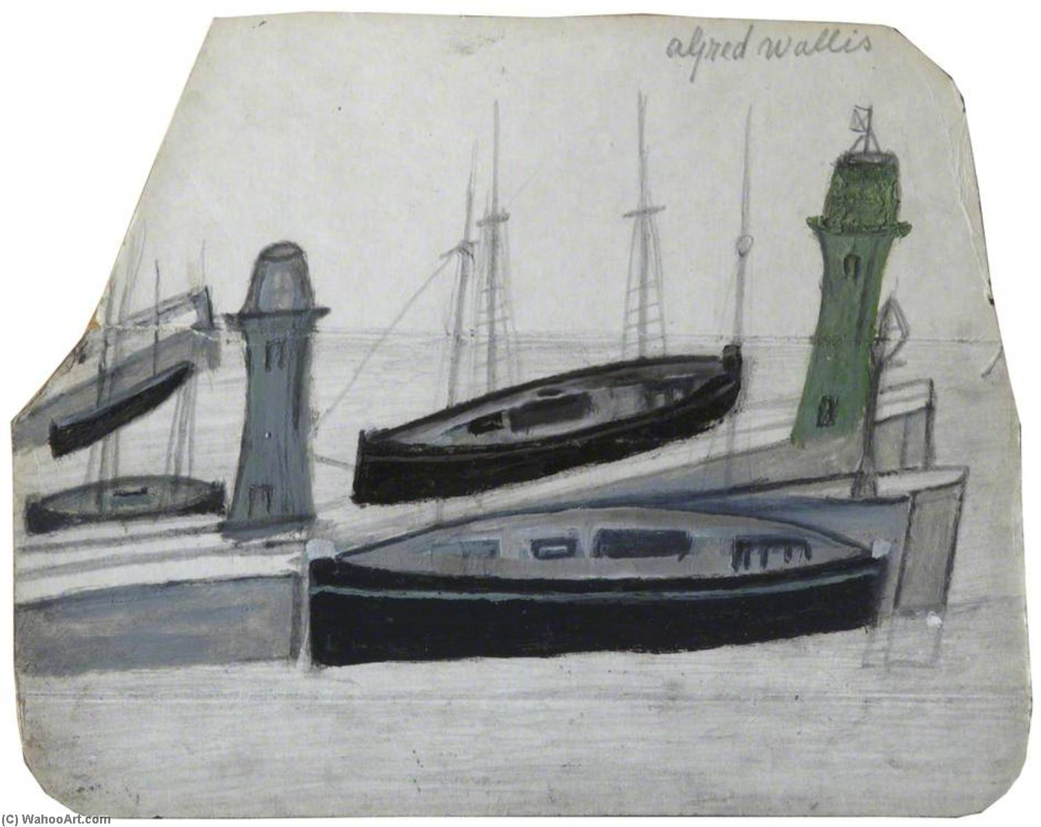Boats by Alfred Wallis (1855-1942, United Kingdom) | Oil Painting | WahooArt.com