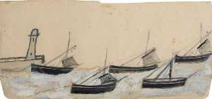 Alfred Wallis - Five Fishing Boats Anchored by Pier and Lighthouse