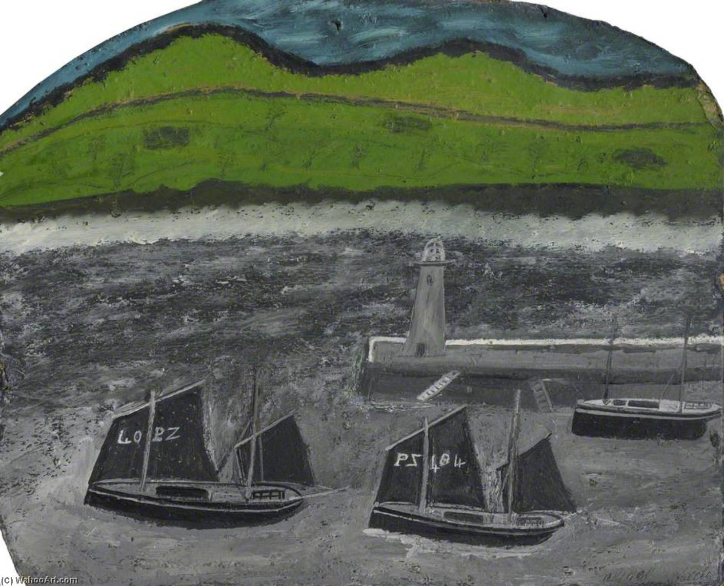PZ Sailing Boats by a Jetty, Oil by Alfred Wallis (1855-1942, United Kingdom)