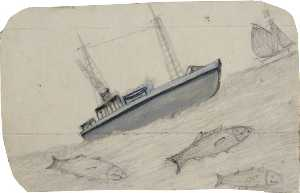 Alfred Wallis - Grey Steamboat, Sailing Ship and Three Fish with Teeth