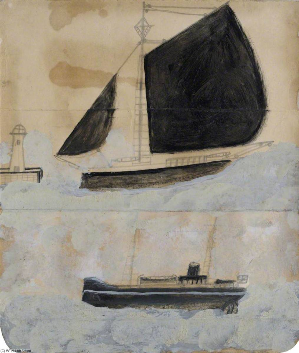 Two Ships, Graphite by Alfred Wallis (1855-1942, United Kingdom)