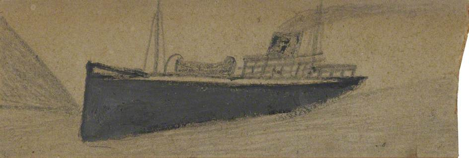 Grey Steam Boat by Alfred Wallis (1855-1942, United Kingdom) | WahooArt.com