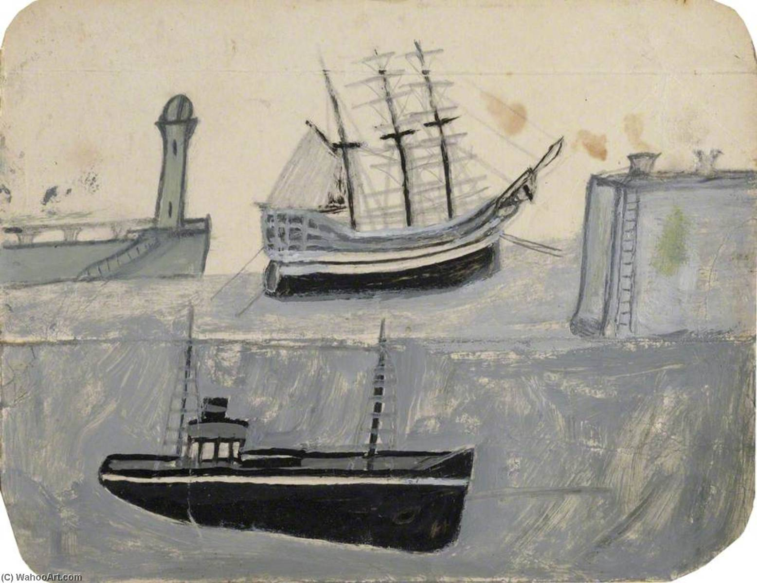 Ships in Harbour by Alfred Wallis (1855-1942, United Kingdom) | WahooArt.com