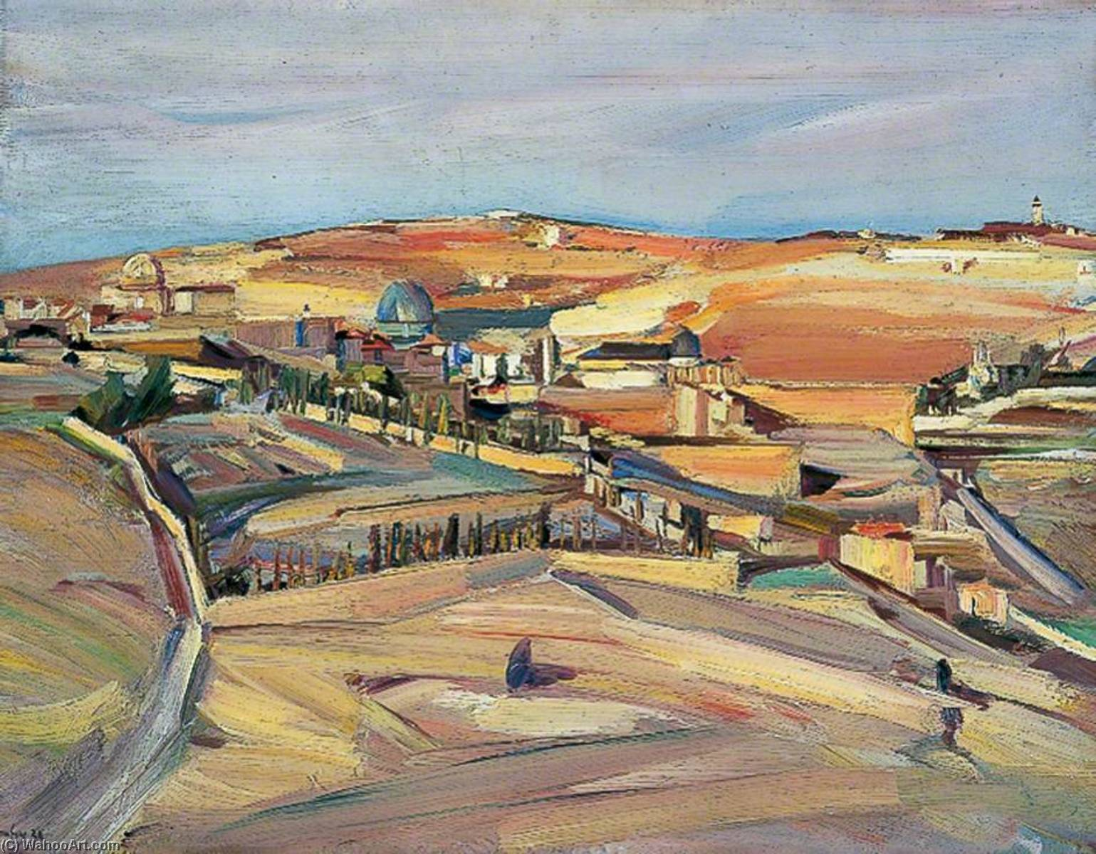 The Southeast Corner, Jerusalem (Palestinian Landscape), 1926 by David Garshen Bomberg (1890-1957, United Kingdom) |  | WahooArt.com