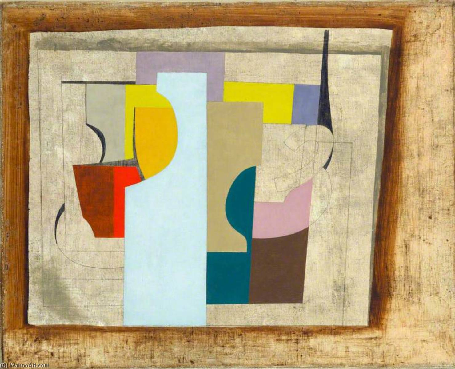 1946 (still life), 1946 by Ben Nicholson (1894-1982, United Kingdom) | Famous Paintings Reproductions | WahooArt.com