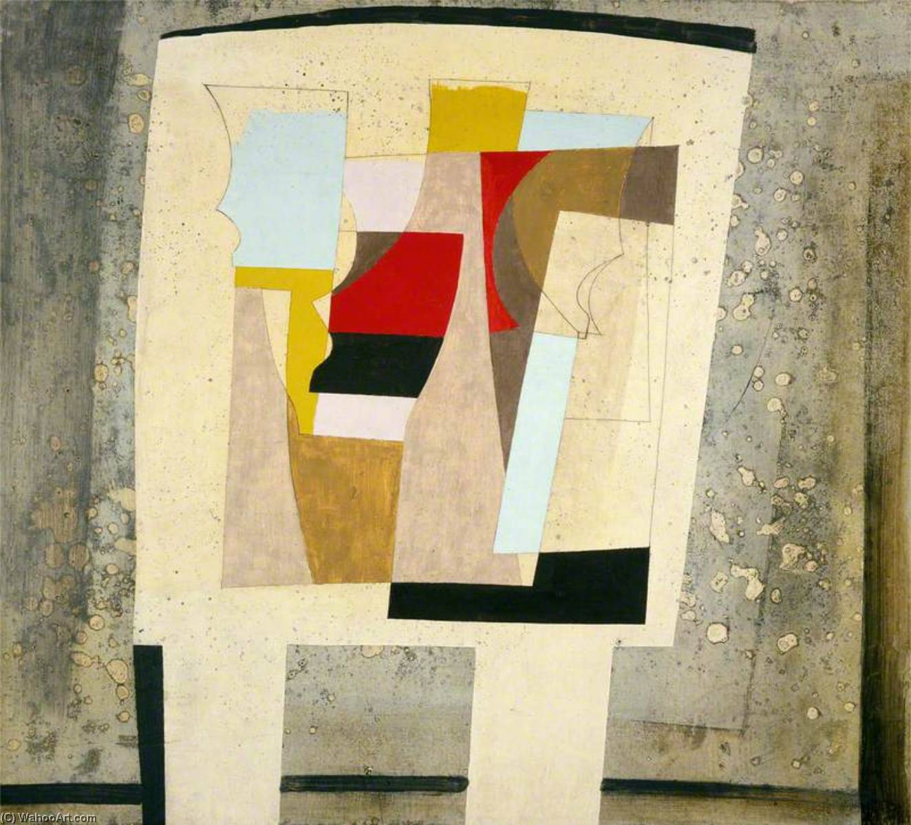 14 March 1947 (still life – spotted curtain), Oil by Ben Nicholson (1894-1982, United Kingdom)