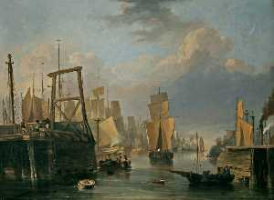 John Berney Crome - The Removal of Old Yarmouth Bridge, Norfolk