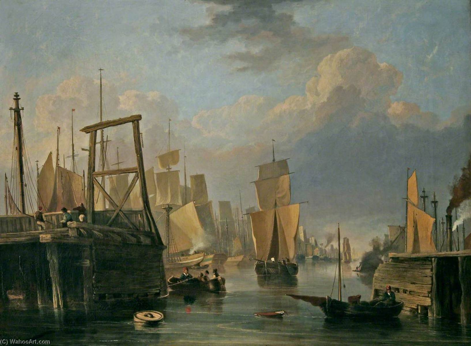Order Painting Copy : The Removal of Old Yarmouth Bridge, Norfolk, 1837 by John Berney Crome (1768-1821) | WahooArt.com