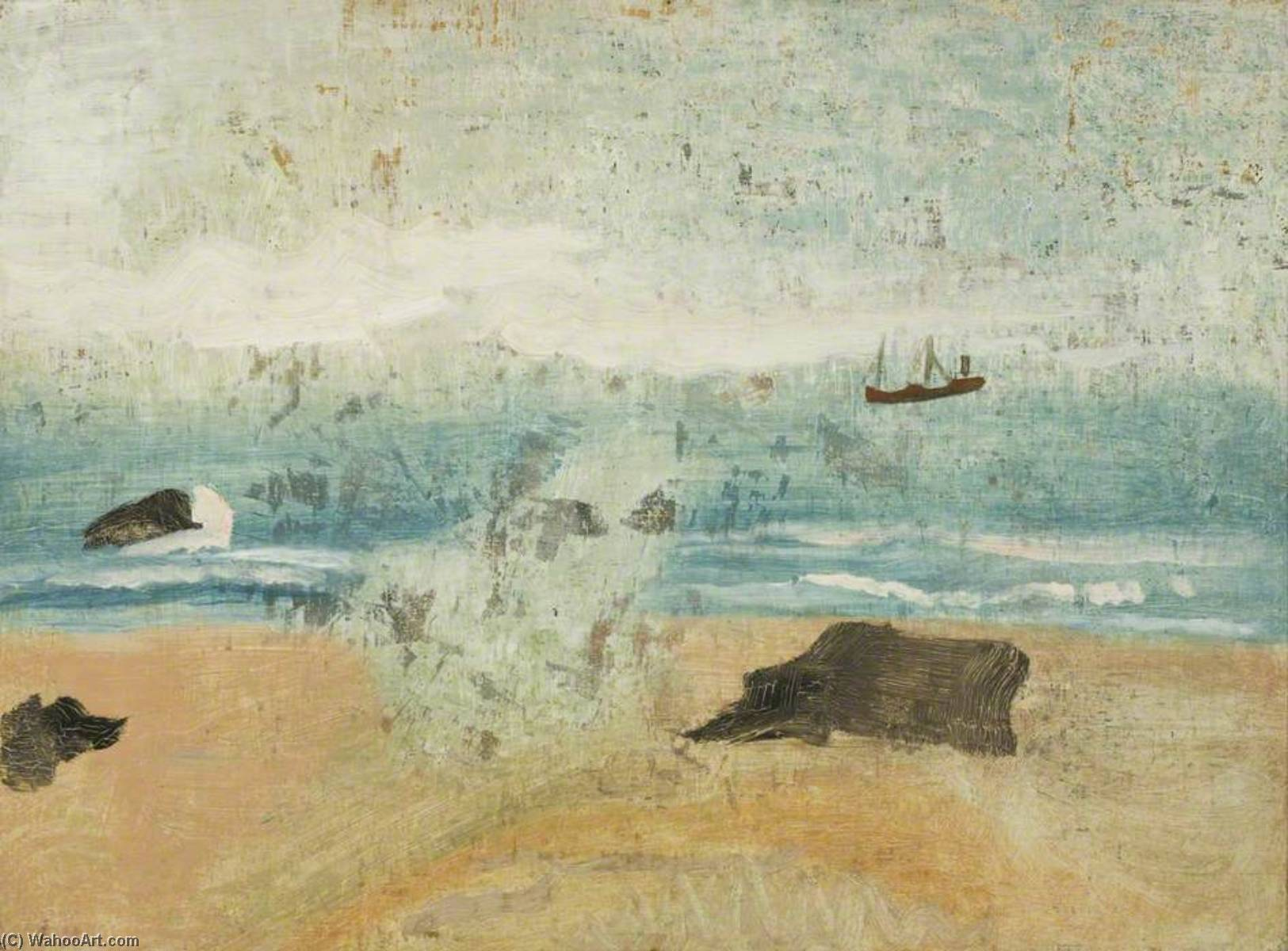 1930 (Porthmeor Beach), Oil On Canvas by Ben Nicholson (1894-1982, United Kingdom)