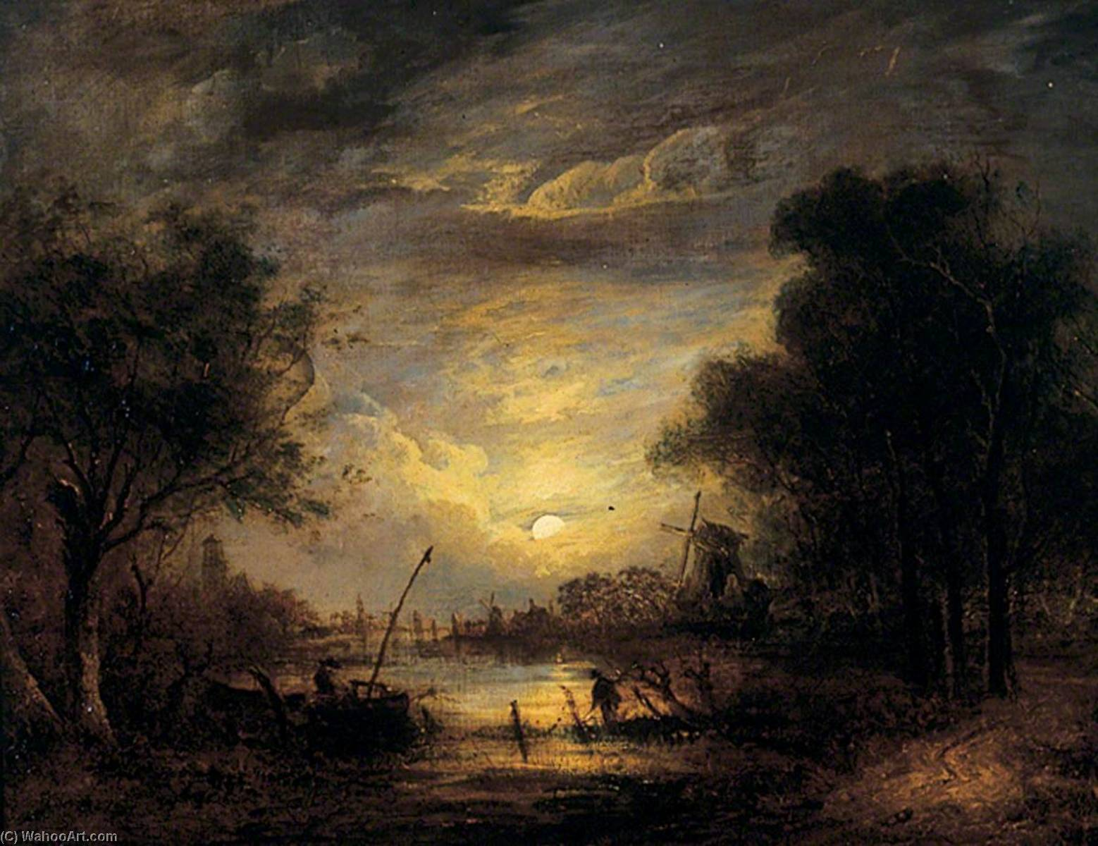 Fishing by Moonlight at Sanderdorf, near the Brille, The Netherlands, 1840 by John Berney Crome (1768-1821) | Famous Paintings Reproductions | WahooArt.com