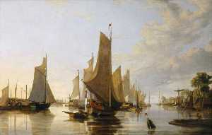 John Berney Crome - Yarmouth Water Frolic – Evening Boats Assembling Previous to the Rowing Match