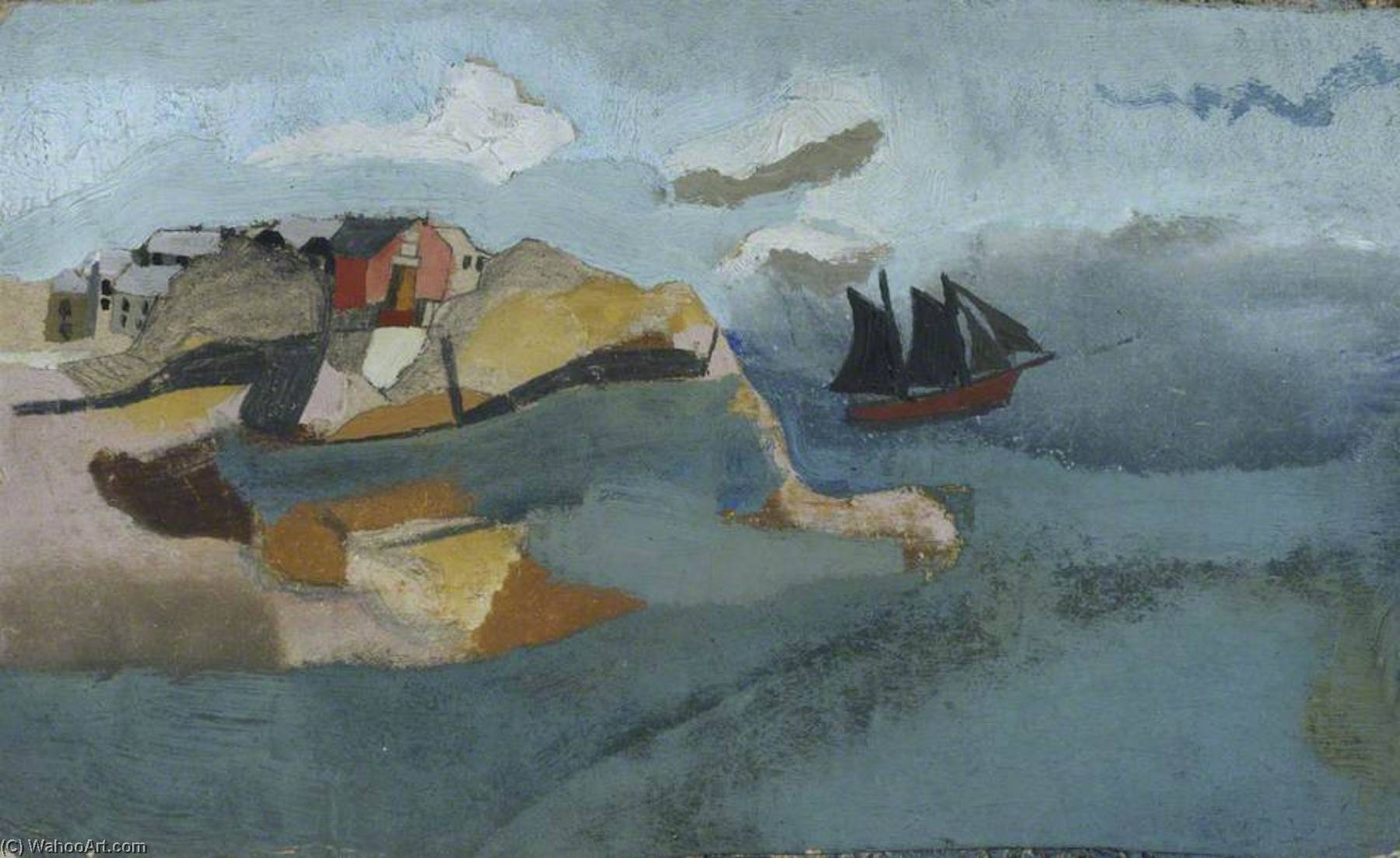 c.1930 (Cornish port), 1928 by Ben Nicholson (1894-1982, United Kingdom) | Famous Paintings Reproductions | WahooArt.com