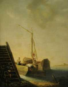 John Berney Crome - Barges by a Jetty