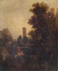John Berney Crome - A Norwich Tower, Norfolk